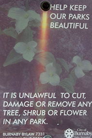 Help Keep Out Parks Beautiful - City of Burnaby Signage